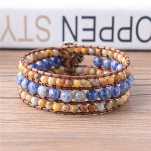 Calming Three layer Natural Agate Stone Wrap Bracelet Wrap Bracelets YGLINE Store
