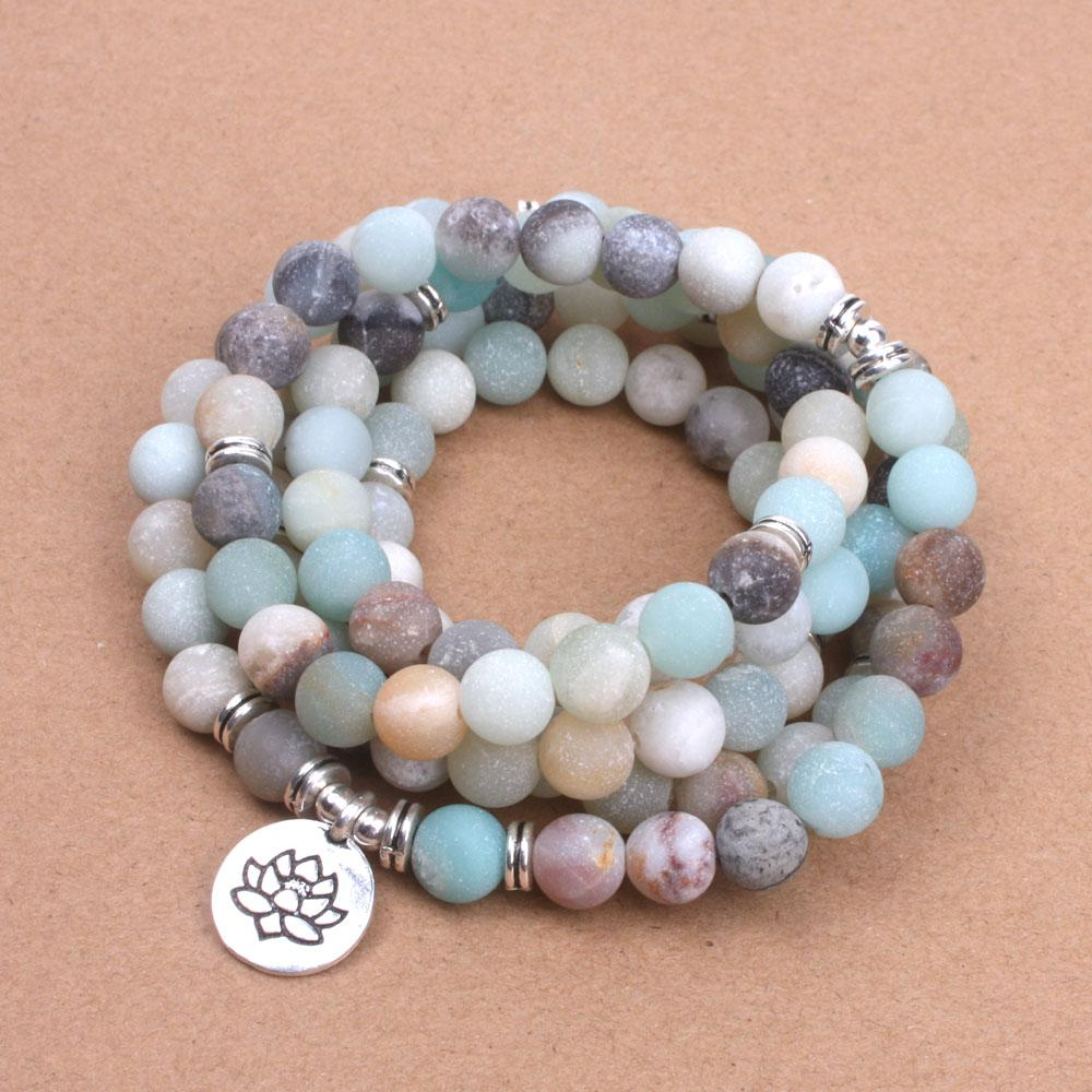Frosted Natural Amazonite Beads Mala Xin Xin Fashion JEWELRY