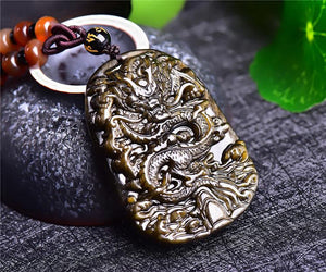 Obsidian Stone Dark Gold Dragon Pendant Necklace Pendants MorningAgent Jewelry Store