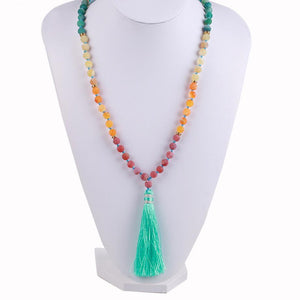 Natural 7 Chakra Tassel Mala Necklace Pendant Necklaces *CSJA Jewellery* Store
