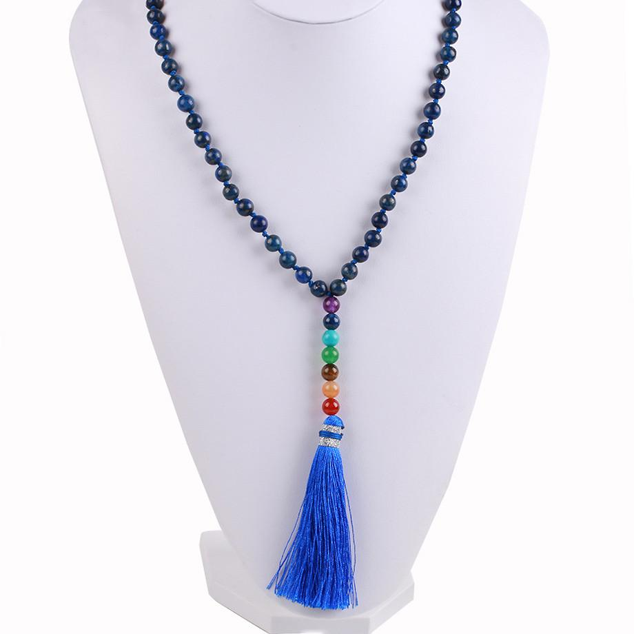 Natural 7 Chakra Tassel Mala Necklace Pendant Necklaces *CSJA Jewellery* Store Lapis Lazuli