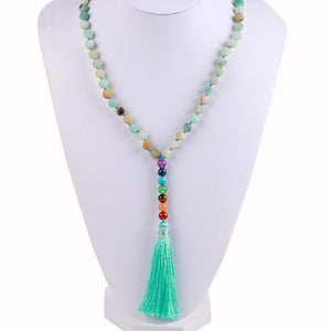 Natural 7 Chakra Tassel Mala Necklace Pendant Necklaces *CSJA Jewellery* Store Amazon