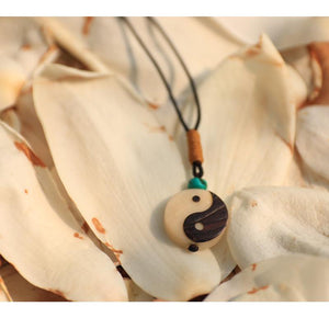 Hand carved Yin Yang Sign Lucky Rope Necklace Pendant Necklaces Eastisan Store
