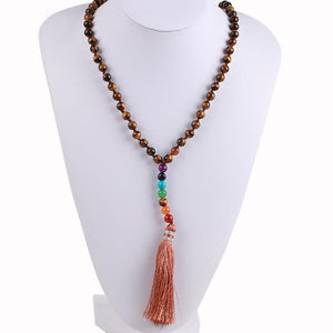 Natural 7 Chakra Tassel Mala Necklace Pendant Necklaces *CSJA Jewellery* Store Tiger Eye