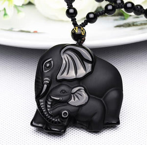 Natural Black Obsidian Carved Mother Elephant Necklace Pendants zenshopworld Default Title