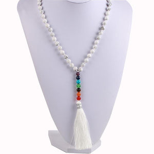 Natural 7 Chakra Tassel Mala Necklace Pendant Necklaces *CSJA Jewellery* Store White Turquoise