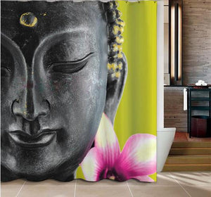 Buddha and Lotus Flower Shower Curtain Shower Curtains quality living