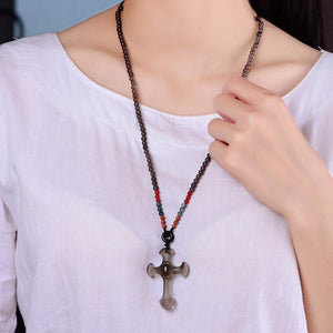 Natural Ice Obsidian Stone Cross Necklace Pendant Necklaces Cheng Pin Wo Store