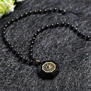 Natural Obsidian Stone Bagua Map Pendant Necklace Pendants Cheng Pin Wo Store