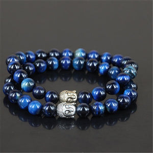 2pcs Natural Blue Tiger Eye Buddha Head Bracelets Strand Bracelets Free Zone Trend
