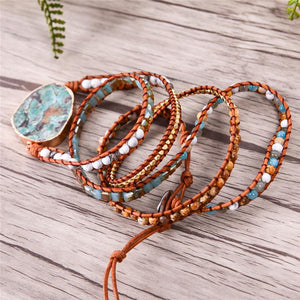5 Layer Turquoise Jasper Stone Leather Wrap Bracelet YGLINE Store