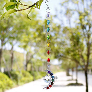 Hanging 7 Chakra Half Moon Crystal Suncatcher Wind Chimes & Hanging Decorations H&D Crystal 1