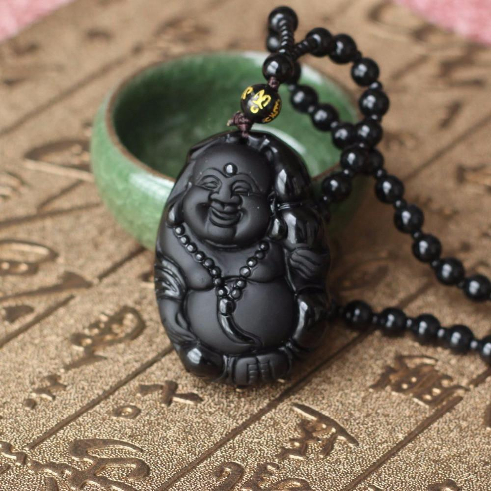 Natural black obsidian carved laughing buddha necklace zenshopworld natural black obsidian carved laughing buddha necklace aloadofball Image collections