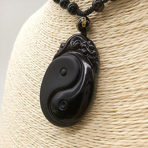 Obsidian Carved Yin and Yang Pendant Necklace Pendants FX No.1 Store