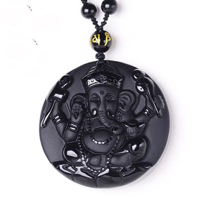 Natural Obsidian Ganesh Lucky Elephant Pendant LOVE WARM STORE