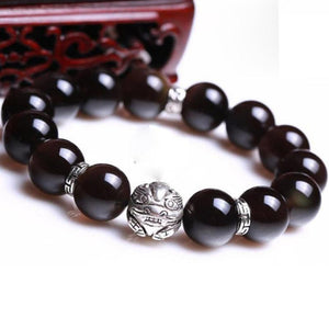 Natural Obsidian Beads Charms 925 Sterling Silver Bracelet Strand Bracelets GQTorch Jewelry Store
