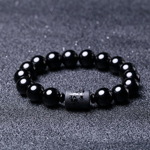 Natural Obsidian Dragon and Phoenix Bracelet Strand Bracelets JINJIAHUI FOREIGN TRADE CO.,LTD 10MM Phoenix