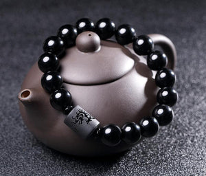 Natural Obsidian Dragon and Phoenix Bracelet Strand Bracelets JINJIAHUI FOREIGN TRADE CO.,LTD 12MM Dragon