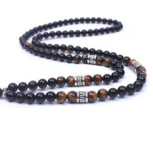 Natural Onyx Tiger eye stone Om Necklace Pendant Necklaces Xin Xin Fashion JEWELRY