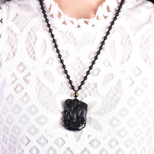 Lucky Trunk Up Natural Black Obsidian Elephant Pendant Pendants LYGLICUN Store