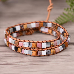 2 Strand Natural Agate Friendship Bracelets YGLINE Store color2