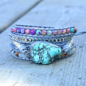 Turquoise Healing and Protection Wrap Bracelet Wrap Bracelets Loving Handcraft Store