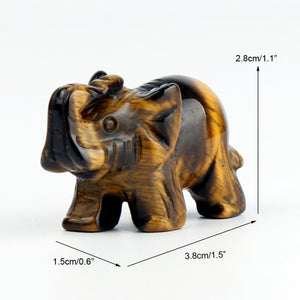 NATURAL STONE CARVED ELEPHANT REIKI CRYSTAL