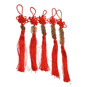 Red Chinese Knot Feng Shui Wealth Success Coins Decor Non-currency Coins Family Fairy World