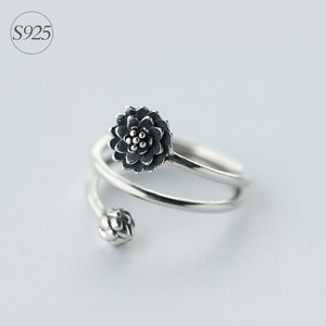 925 Sterling Silver Multi Layter Lotus Flower Ring Rings Smile Morning's store