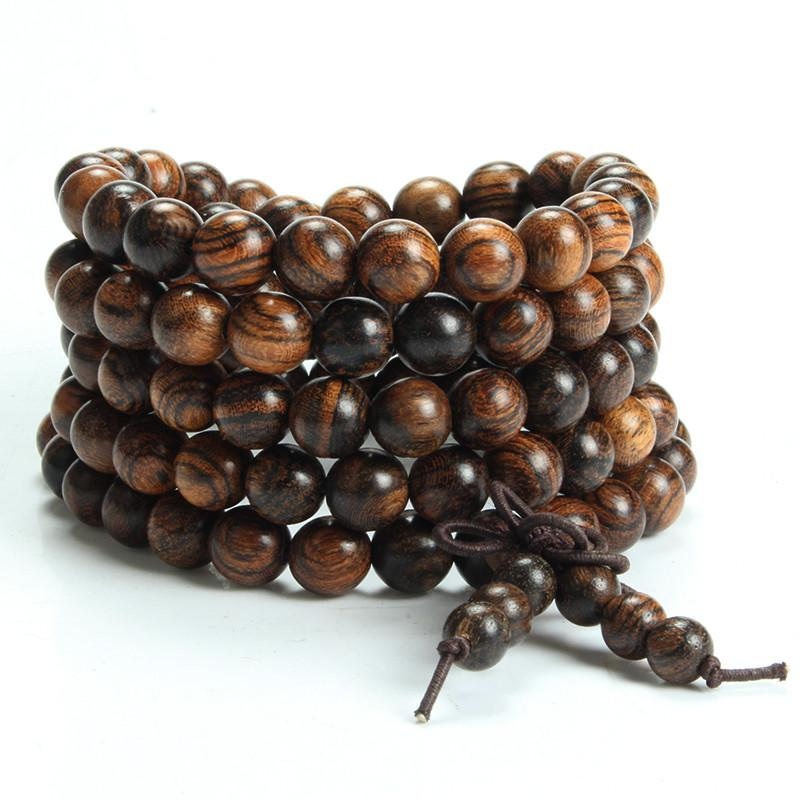 Natural Tiger Wood Handmade 108 Bead Mala MOFRGO Store 6mm
