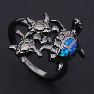 Cool Black Turtle Blue Opal Ring Rings Stones Jewelry