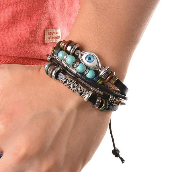 Evil Eye Vintage Multi-Layer Leather Bracelet Bangle Wrap Bracelets zenshopworld