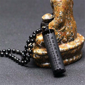Natural Black Obsidian Heart Sutra Safety Guard Pendant LOVE WARM STORE