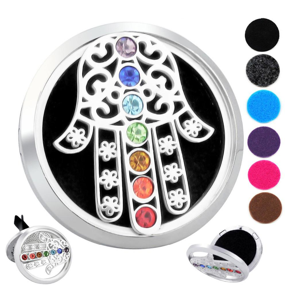 7 Chakra Hand of Fatima Car Diffuser Pendants Vicky-Home Jewelry Factory Wholesale Store