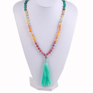 Natural 7 Chakra Tassel Mala Necklace Pendant Necklaces *CSJA Jewellery* Store Indian Agate