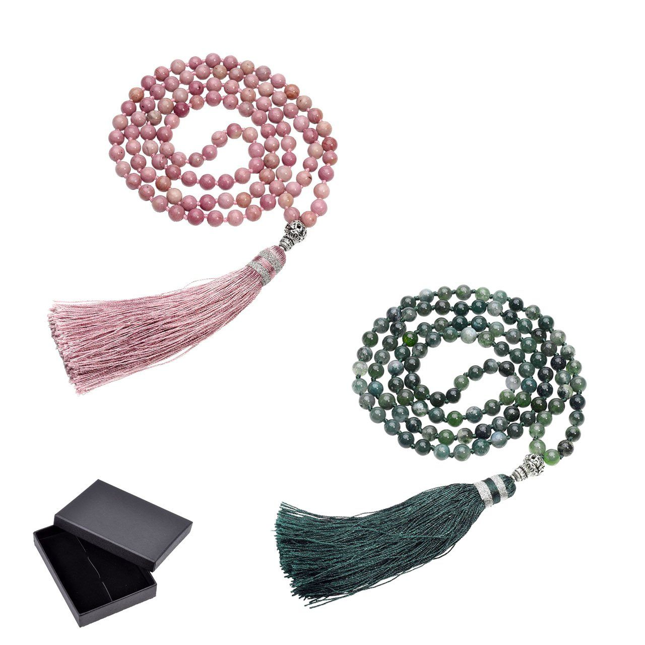 6mm Natural Rhodochrosite/Moss Agate 108 Bead Mala Strand Bracelets Ayliss Official Store 1 Set