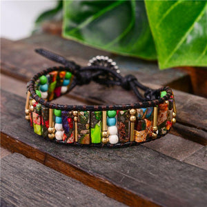 Boho Natural Stone Stone Single Leather Wrap Figurines & Miniatures H&D-World
