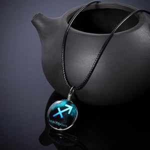 12 constellation Glass Pendant Necklace Pendant Necklaces Always Romantic Store Sagitarius