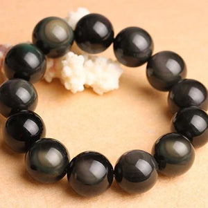 Natural Obsidian Beads Charms 925 Sterling Silver Bracelet Strand Bracelets GQTorch Jewelry Store 9mm Beads Bracelet