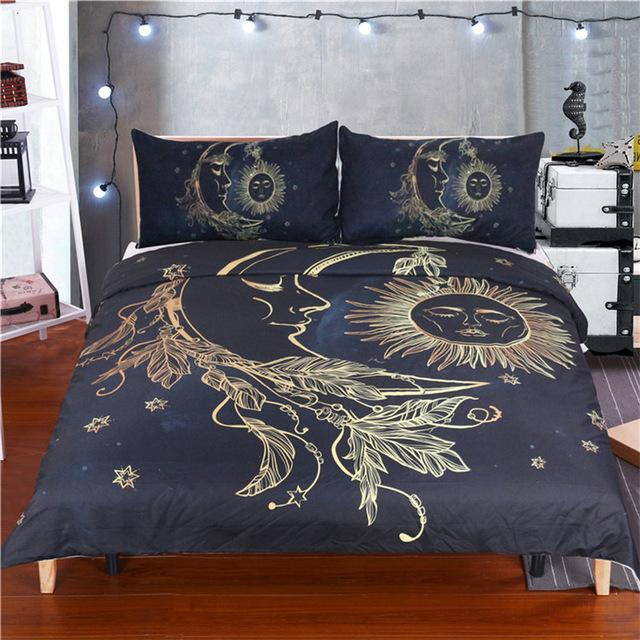 3Pcs Set Sun and Moon Dream Duvet Cover With Pillowcase Covers Bedding Sets BeddingOutlet Official Store