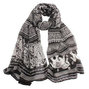 Elephant Printed Long Scarf Scarves Sunflower's Home Black
