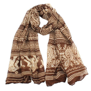Elephant Printed Long Scarf Scarves Sunflower's Home Brown