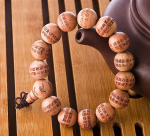 Natural Wood Compassion Mantra Bracelet Strand Bracelets power-land Cedarwood