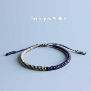 Tibetan Buddhist Blessed Knots Rope Bracelets Energy Set Eastisan Store Deep Grey Blue
