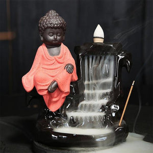Calming Staggered Waterfall and Buddha Incense Burner TINYPRICE Store Red