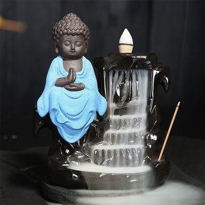Calming Staggered Waterfall and Buddha Incense Burner TINYPRICE Store Blue