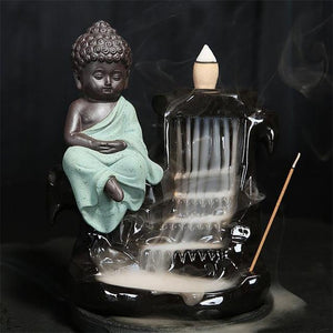 Calming Staggered Waterfall and Buddha Incense Burner TINYPRICE Store Green