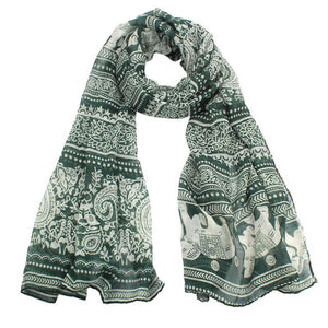 Elephant Printed Long Scarf Scarves Sunflower's Home Green