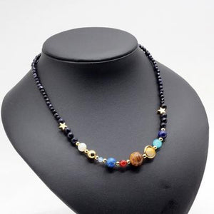 Galaxy and Solar System Natural Stone Necklace SPARK JEWELRY FACTORY Default Title