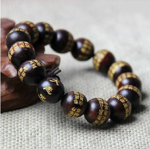 Natural Wood Compassion Mantra Bracelet Strand Bracelets power-land Red Sandalwood